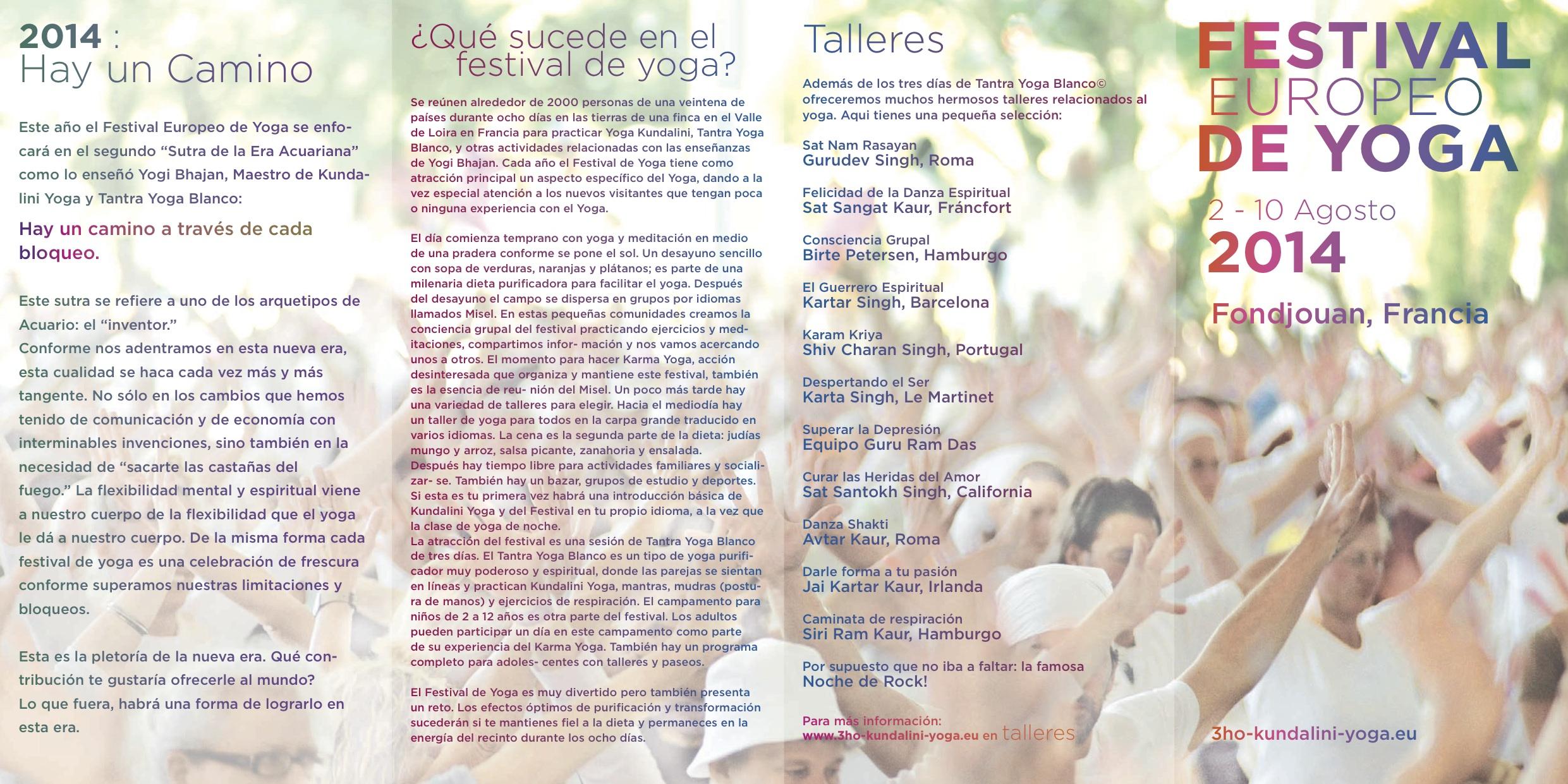 Festival de Yoga Europeo del Sáb. 2 Agosto al Dom. 10 Agosto 2014
